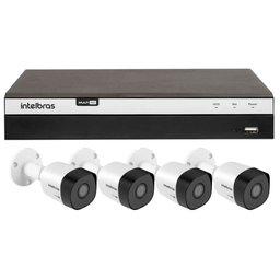 Kit Gravador Digital de Vídeo Multi HD Intelbras 4580330 + 4 Câmeras de Segurança Infravermelho Multi HD 30 Metros Intelbras 4565295