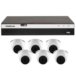 Kit Gravador Digital de Vídeo Multi HD Intelbras 4580331 + 6 Câmeras de Segurança Dome Full HD 20 Metros Intelbras 4565306