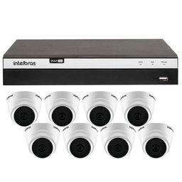 Kit Gravador Digital de Vídeo Multi HD Intelbras 4580331 + 8 Câmeras de Segurança Dome Full HD 20 Metros Intelbras 4565306