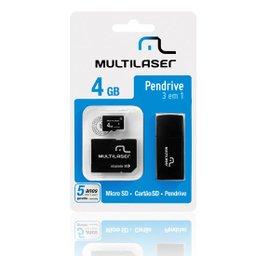 Kit 3 em 1 - Micro SD + Cartão SD + Pen Drive 4 GB
