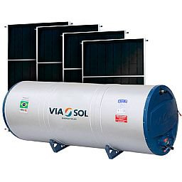 Kit Reservatório Térmico Boiler VIASOL-VS-500NIVEL 500L + 4 Coletores Solar Vertical 2000 x 1000 mm