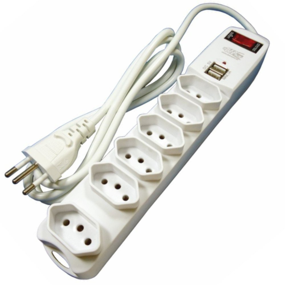 Filtro de Linha 6 Tomadas 2P+T 10A com 2 Saídas USB e Chave Disjuntora Bivolt