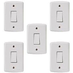 Kit Conjunto TRAMONTINA-57145001 de 1 Interruptor Simples 10A Branco com 5 Unidades