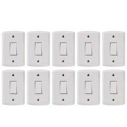Kit Conjunto TRAMONTINA-57145001 de 1 Interruptor Simples 10A Branco com 10 Unidades