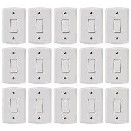 Kit Conjunto TRAMONTINA-57145001 de 1 Interruptor Simples 10A Branco com 15 Unidades