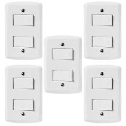 Kit Conjunto TRAMONTINA-57145040 com 2 Interruptores Simples 10A 250V Branco com 5 Unidades