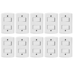 Kit Conjunto TRAMONTINA-57145040 com 2 Interruptores Simples 10A 250V Branco com 10 Unidades