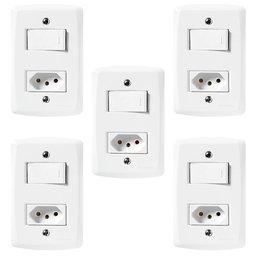 Kit Conjunto Interruptor Paralelo + Tomada 2P+T 10A 250V 5 Unidades