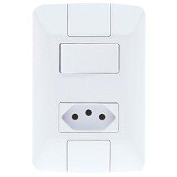 Conjunto Aria 1 Interruptor Paralelo 6A + 1 Tomada 2P+T 10A 250V Branco