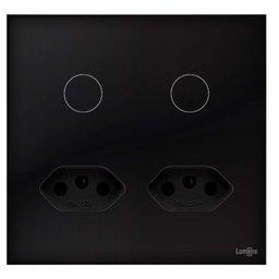 Interruptor Touch Glass em Acrílico Preto com 2 Botões e 2 Tomadas