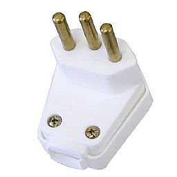 Plugue Triangular 3 pontas 10A 250V Branco