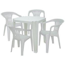 Kit Mesa Quadrada Tambaú Branca TRAMONTINA-92314010 + 4 Cadeiras Atalaia com Braço