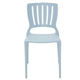 Cadeira Sofia Azul com Encosto Vazado Vertical em Polipropileno e Fibra de Vidro