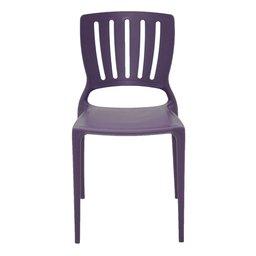 Cadeira Sofia Lilás com Encosto Vazado Vertical em Polipropileno e Fibra de Vidro