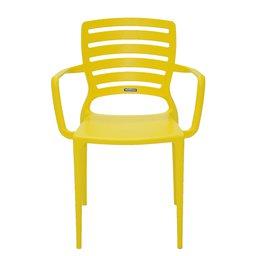 Cadeira Sofia Amarela com Braço Encosto Vazado Horizontal em Polipropileno e Fibra de Vidro
