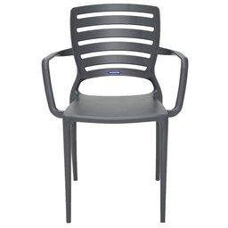 Cadeira Sofia Grafite com Braço Encosto Vazado Horizontal em Polipropileno e Fibra de Vidro