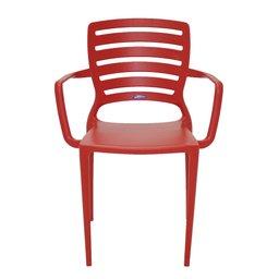Cadeira Sofia Vermelha com Braço Encosto Vazado Horizontal em Polipropileno e Fibra de Vidro