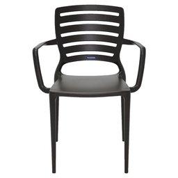 Cadeira Sofia Marrom com Braço Encosto Vazado Horizontal em Polipropileno e Fibra de Vidro