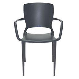 Cadeira Sofia Grafite com Braços Encosto Fechado em Polipropileno e Fibra de Vidro