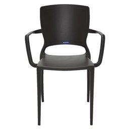 Cadeira Sofia Marrom com Braços Encosto Fechado em Polipropileno e Fibra de Vidro