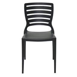 Cadeira Sofia Preta sem Braços Encosto Vazado Horizontal em Polipropileno e Fibra de Vidro