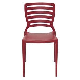 Cadeira Sofia Vermelha sem Braços Encosto Vazado Horizontal em Polipropileno e Fibra de Vidro