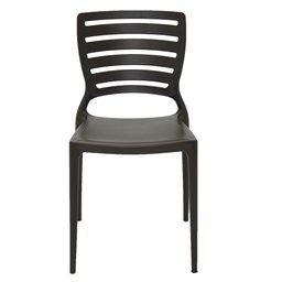 Cadeira Sofia Marrom sem Braços Encosto Vazado Horizontal em Polipropileno e Fibra de Vidro