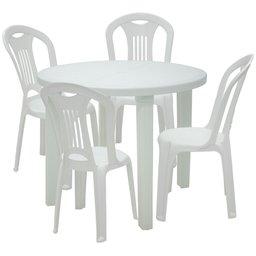 Kit Mesa Redonda Branca Tramontina 92301010 + 4 Cadeiras Brancas Caravelas