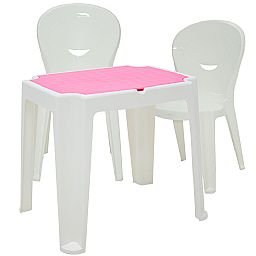 Kit Mesa Infantil Branca e Rosa Tramontina 92340016 + 2 Cadeiras Vice Brancas