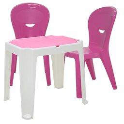 Kit Mesa Infantil Branca e Rosa Tramontina 92340016 + 2 Cadeiras Vice Rosas