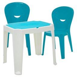 Mesa Infantil Versa Branca e Azul TRAMONTINA-92340017 + 2 Cadeiras Vice Azul