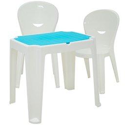 Kit Mesa Infantil Branca e Azul Tramontina 92340017 + 2x Cadeira Vice Branca