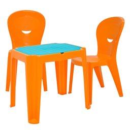 Kit Mesa Infantil Laranja e Azul Tramontina 92340097 + 2 Cadeiras Vice Laranjas