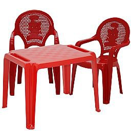Kit Mesa Infantil Vermelha Tramontina 92320040 + 2 Cadeiras Infantil Catty Vermelhas