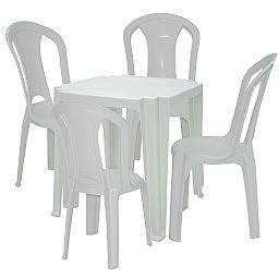 Kit Mesa Quadrada Tambaú Branca Tramontina 92314010 + 4 x Cadeiras Brancas Torres