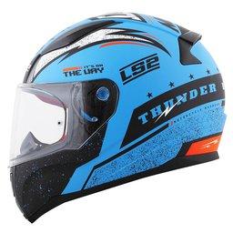 Capacete Ls2 Rapid Ff353 Thunder azul preto fosco fluor laranja 60 Azul