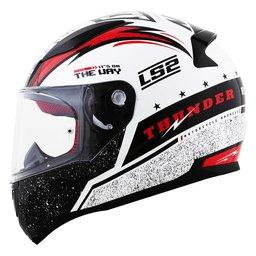 Capacete Ls2 Rapid Ff353 Thunder branco preto vermelho 60 Branco