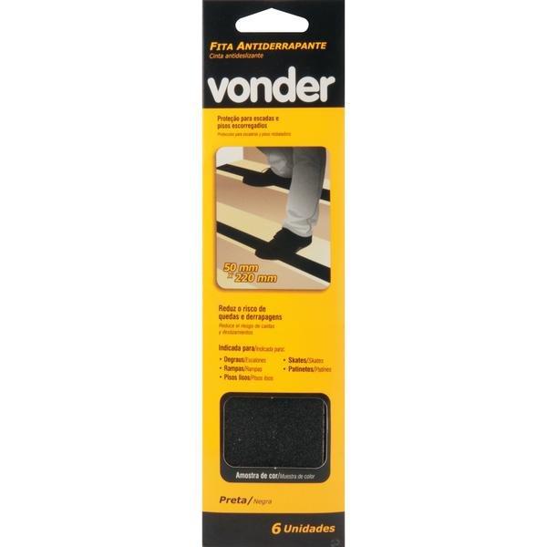 Fita antiderrapante com 6 peças preta VONDER - Imagem zoom