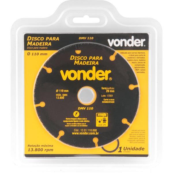Disco de corte para madeira 110 mm DMV 110 VONDER - Imagem zoom