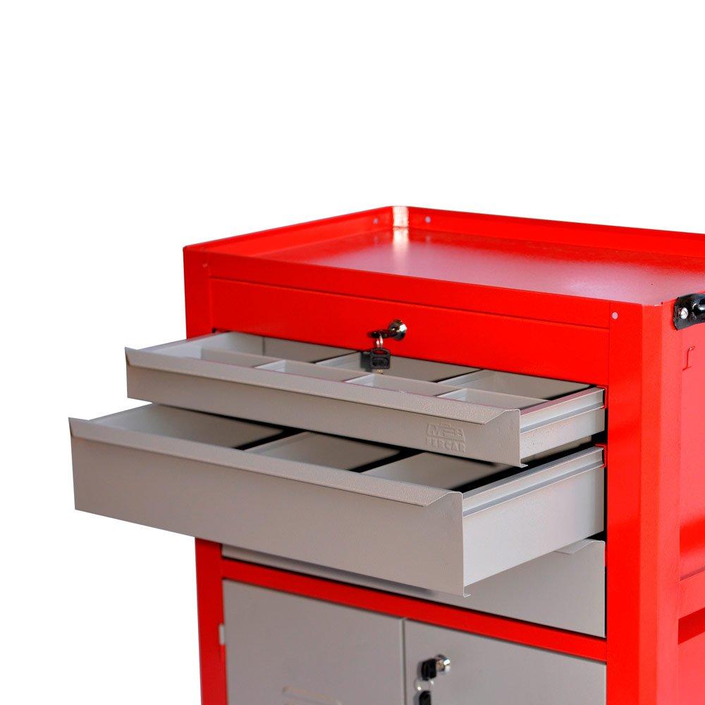 Carrinho Fechado Vermelho com 3 Gavetas e 2 Portas - Imagem zoom