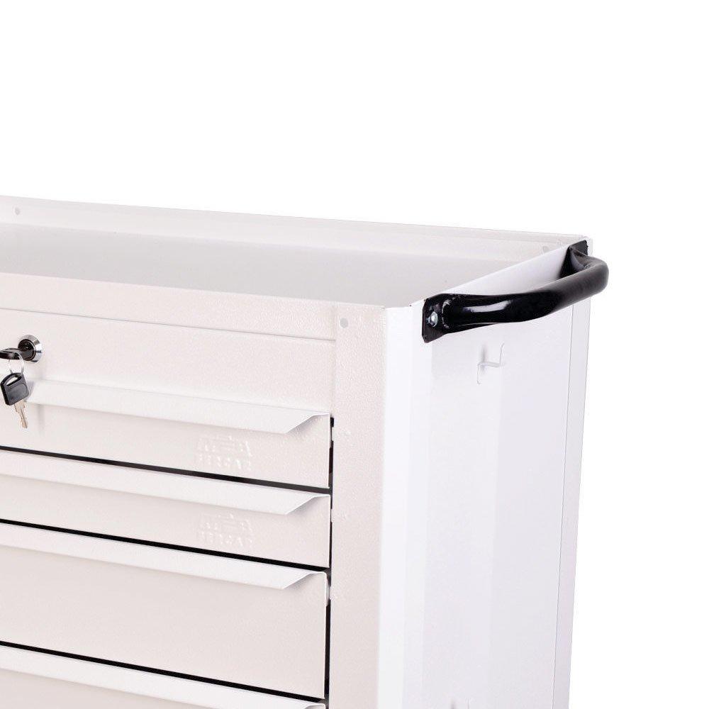 Carrinho Fechado Branco com 6 Gavetas - Imagem zoom