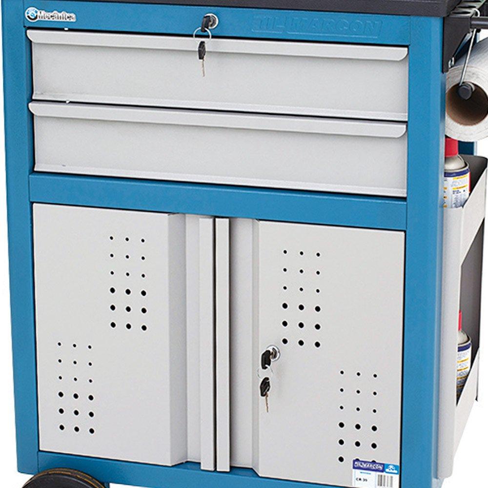Carrinho Oficina Fechado com 2 Gavetas e Portas em Aço - Imagem zoom