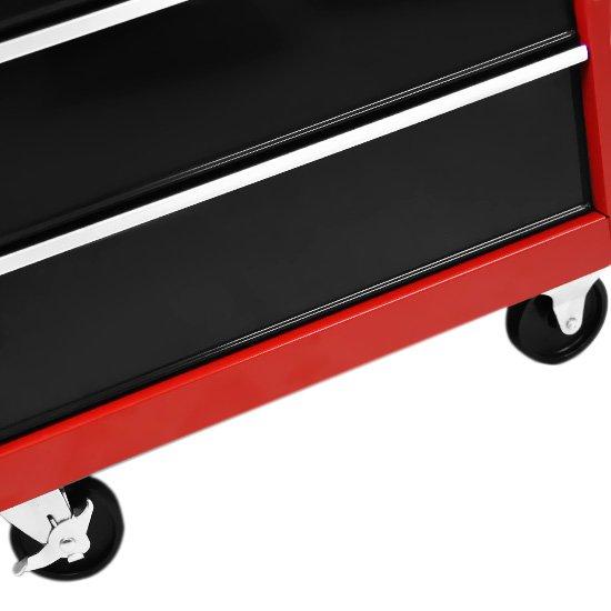 Carro para Ferramentas com 5 Gavetas Preto e Vermelho - Imagem zoom