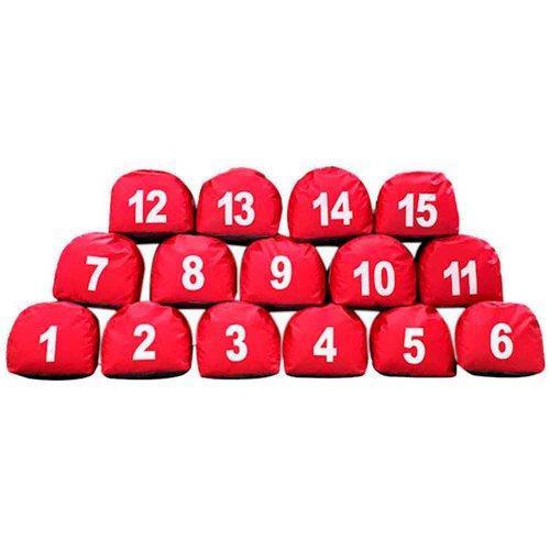 prisma vermelho com número de 1 a 15