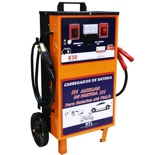 carregador de baterias rápido e lento 14v 50a com auxilar de partida mtl