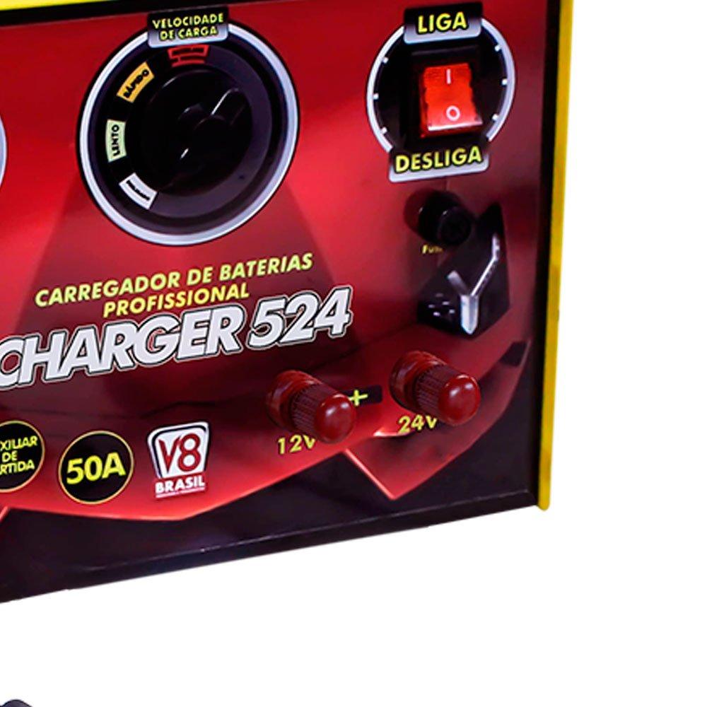 Carregador de Baterias 50A 12/24V Bivolt Charger 524 com Auxiliar de Partida - Imagem zoom