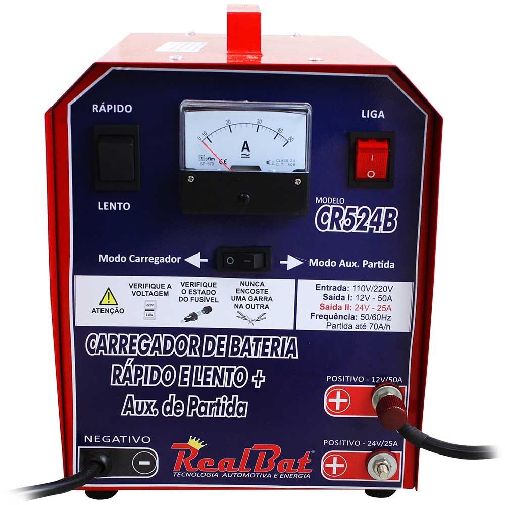 Carregador de Baterias Automotiva Rápido e Lento + Auxiliar de Partida 50A 12/24 V - Imagem zoom
