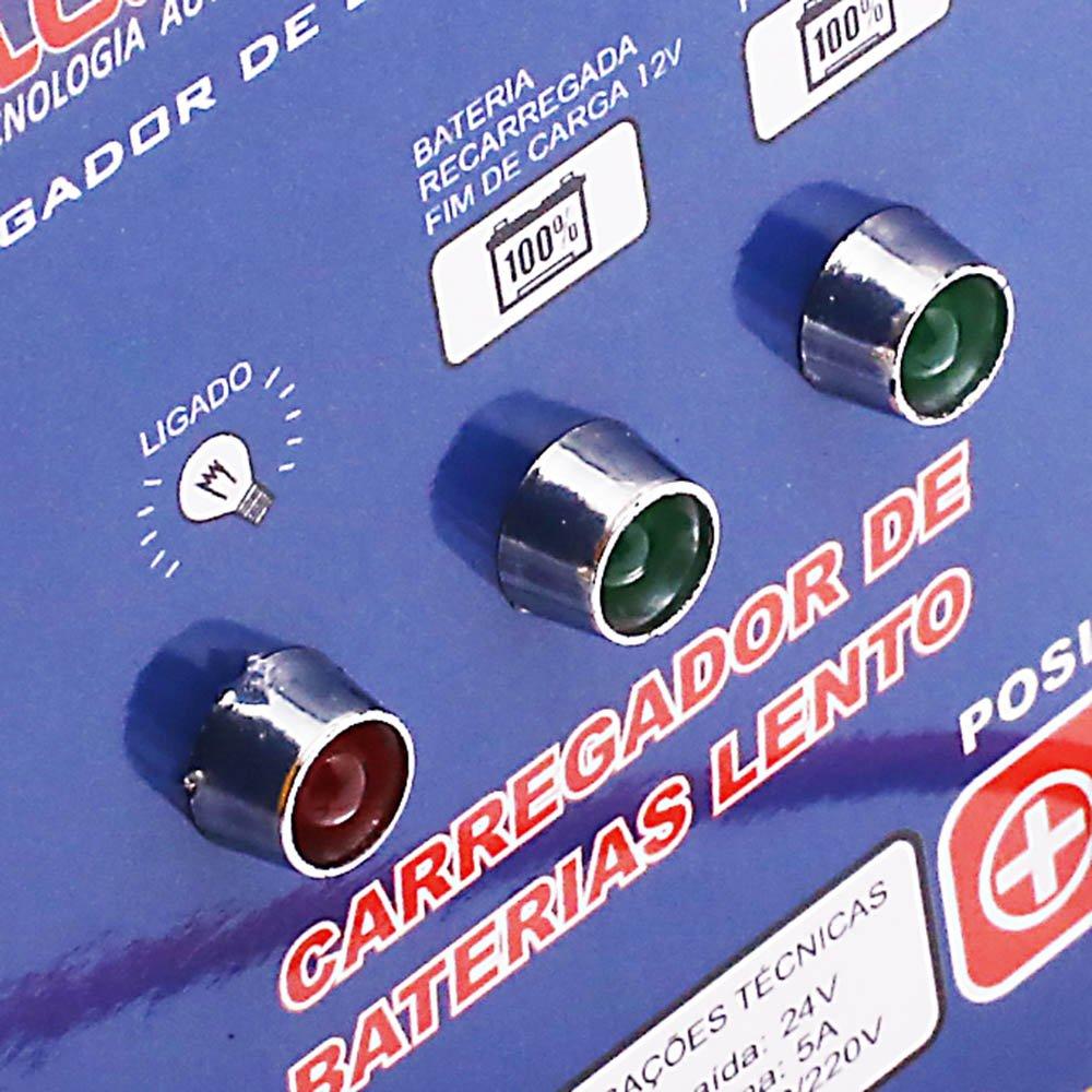 Carregador de Bateria Automotiva 12V/24V 5A com Auto Seleção - Imagem zoom