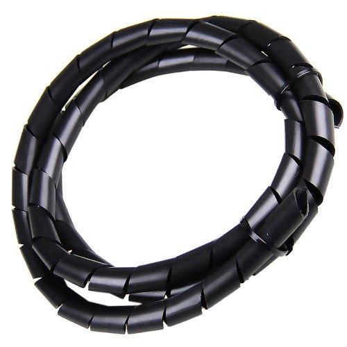 tubo espiral preto - organizador de fios de 1 metro com diâmetro de 1/2 pol.