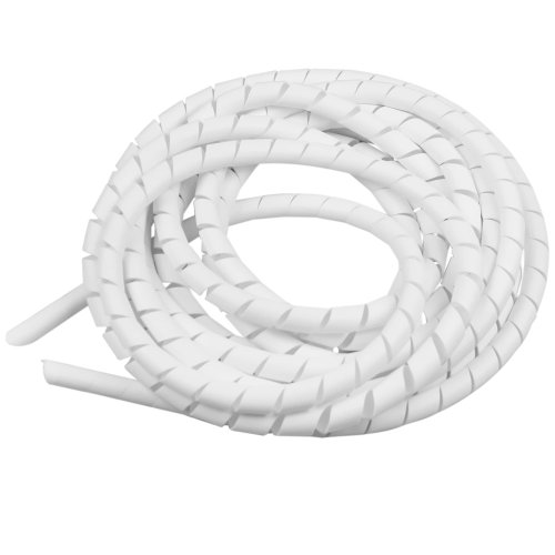 tubo espiral branco - organizador de fios de 5 metros com diâmetro de 1/2 pol.